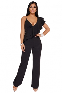 Womens Sexy Ruffle Shoulder Wide Leg V Neck Sleeveless Jumpsuit Black