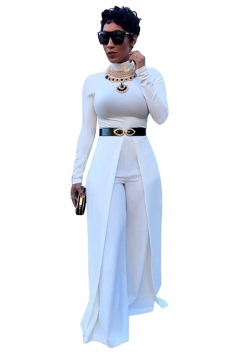 Womens Crew Neck Long Sleeve Wide Leg Plain Cape Jumpsuit White