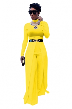 Womens Crew Neck Long Sleeve Wide Leg Plain Cape Jumpsuit Yellow