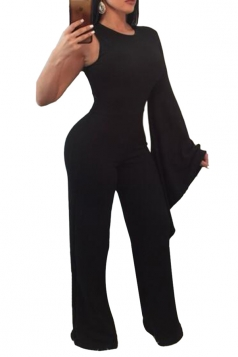 Womens Stylish Asymmetric Sleeve Wide Leg Maxi Plain Jumpsuit Black