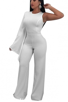 Womens Stylish Asymmetric Sleeve Wide Leg Maxi Plain Jumpsuit White