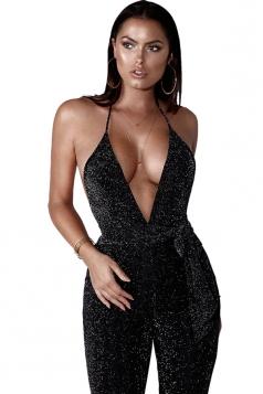 Womens Sexy Halter V Neck Backless Waist Tie Capri Jumpsuit Black