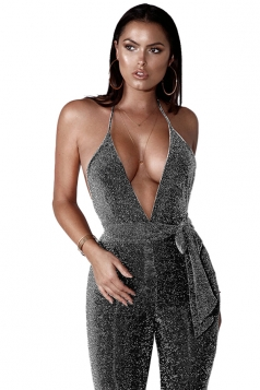 Womens Sexy Halter V Neck Backless Waist Tie Capri Jumpsuit Silver