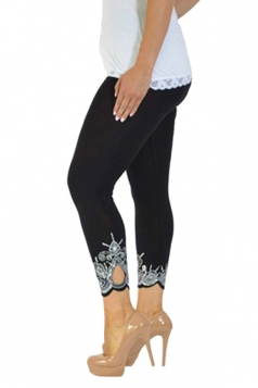 Womens Asymmetric Hem High Waisted Flower Printed Leggings Black