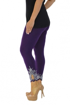 Womens Asymmetric Hem High Waisted Flower Printed Leggings Purple