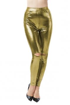 Womens Sexy Pocket High Waisted Side Slit Plain Liquid Leggings Gold