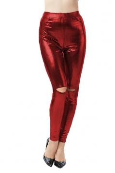 Womens Sexy Pocket High Waisted Side Slit Plain Liquid Leggings Ruby
