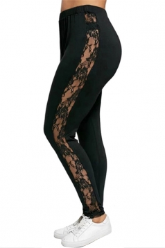 Womens Plus Size Elastic Lace High Waisted Plain Leggings Black