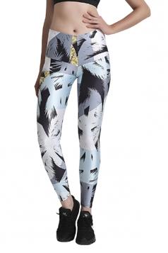 Womens Elastic Skinny High Waisted Printed Leggings Black And White