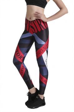 Womens Close-Fitting High Waisted Word Printed Leggings Dark Red