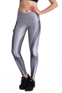 Womens Elastic Skinny High Waisted Mermaid Printed Leggings Gray