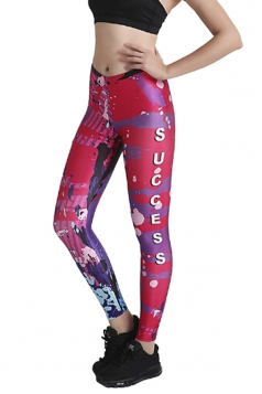Womens Close-Fitting Elastic High Waisted Printed Leggings Rose Red
