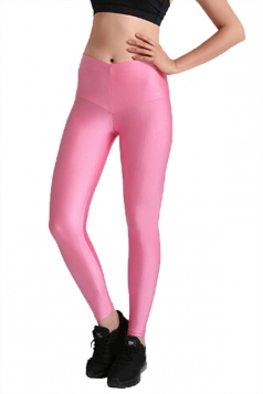 Womens Close-Fitting Elastic High Waisted Plain Leggings Pink