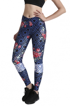 Womens Close-Fitting High Waisted Flower Printed Leggings Navy Blue