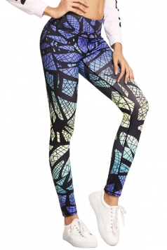 Womens Elastic High Waist Geometry Printed Yoga Sports Leggings White