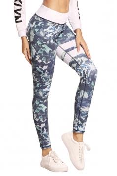 Womens Elastic High Waist Leaves Printed Yoga Sports Leggings Light Gray