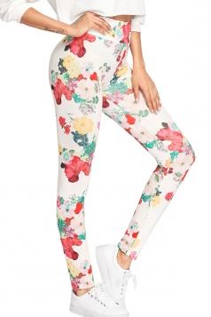 Womens Elastic High Waist Floral Printed Yoga Sports Leggings White
