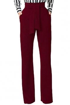 Womens Elegant High Waist With Belt Wide Legs Leisure Pants Ruby