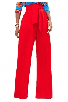 Womens Elegant High Waist With Belt Wide Legs Plain Leisure Pants Red