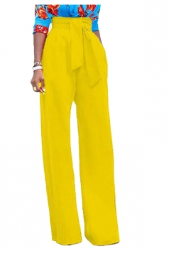 Womens Elegant High Waist With Belt Wide Legs Leisure Pants Yellow
