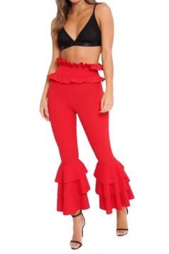 Womens Stylish Skinny Ruffle High Waisted Plain Bell Pants Red
