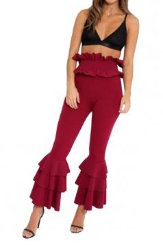 Womens Stylish Skinny Ruffle High Waisted Plain Bell Pants Ruby