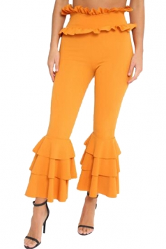 Womens Stylish Skinny Ruffle High Waisted Plain Bell Pants Yellow