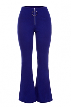 Womens Close-Fitting Zipper High Waisted Plain Bell Pants Blue