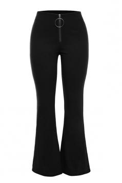 Womens Close-Fitting Zipper High Waisted Plain Bell Pants Black