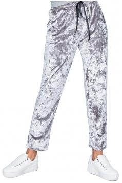 Womens Pocket Drawstring High Waisted Velvet Plain Leisure Pants Gray