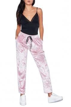 Womens Pocket Drawstring High Waisted Velvet Plain Leisure Pants Pink
