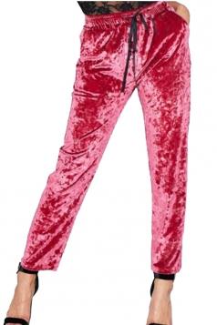 Womens Pocket Drawstring High Waisted Velvet Plain Leisure Pants Red
