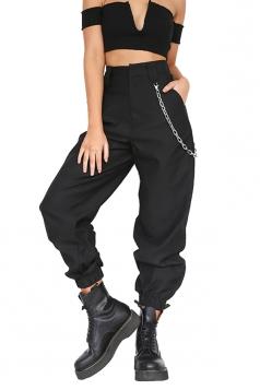Womens Stylish Loose High Waisted Pocket Plain Harem Pants Black