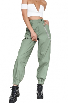 Womens Stylish Loose High Waisted Pocket Plain Harem Pants Green
