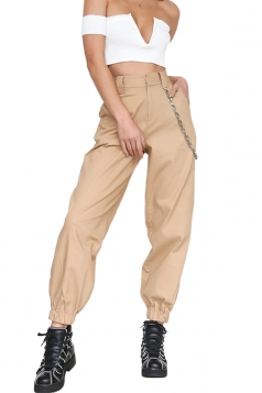 Womens Stylish Loose High Waisted Pocket Plain Harem Pants Khaki