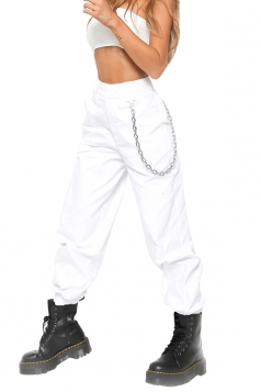 Womens Stylish Loose High Waisted Pocket Plain Harem Pants White
