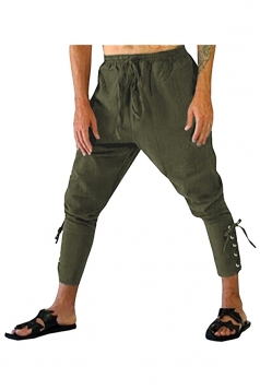 Womens Loose Drawstring Lace Up High Waisted Harem Pants Army Green