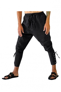 Womens Loose Drawstring Lace Up High Waisted Harem Pants Black