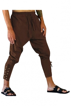 Womens Loose Drawstring Lace Up High Waisted Harem Pants Brown