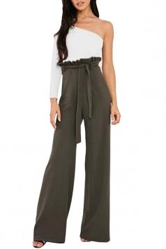 Womens Waist Tie Ruffle Wide Leg High Waisted Leisure Pants Army Green