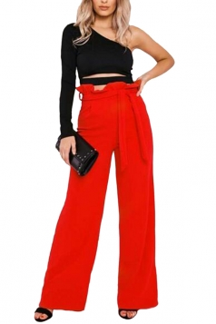 Womens Waist Tie Ruffle Wide Leg High Waisted Leisure Pants Red