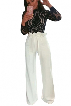 Womens Waist Tie Ruffle Wide Leg High Waisted Leisure Pants White