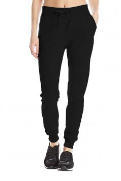Womens Sports Style Drawstring Pocket Plain Leisure Pants Black