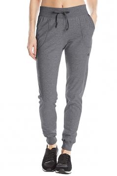 Womens Sports Style Drawstring Pocket Plain Leisure Pants Dark Gray