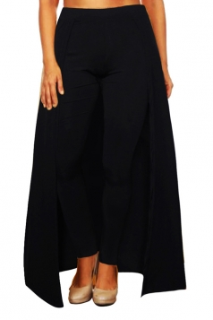 Womens Stylish High Waisted Ankle Length Pants With Cape Black