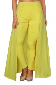 Womens Stylish High Waisted Ankle Length Pants With Cape Yellow