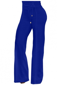 Womens Stylish High Waisted Lace Up Zipper Plain Leisure Pants Blue
