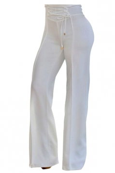 Womens Stylish High Waisted Lace Up Zipper Plain Leisure Pants White