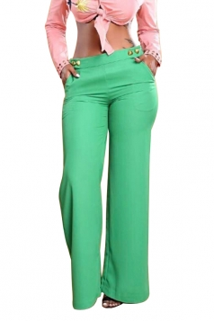 Womens Stylish High Waisted Wide Leg Pocket Button Leisure Pants Green
