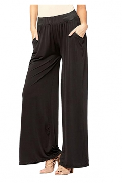 Womens Elastic High Waist Wide Legs Loose Plain Leisure Pants Black